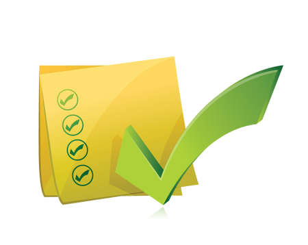 yellow check list post illustration design over a white background
