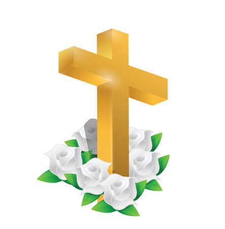 Beautiful gold cross and roses illustration design over white