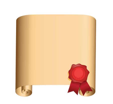 vellum: Old scorrere con un sigillo design illustrazione bagnato su bianco