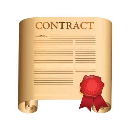 흰색 위에 젖은 인감 그림 디자인으로 오래 된 스크롤 계약 일러스트