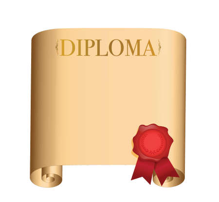 diploma Old scroll with a wet seal illustration design over white