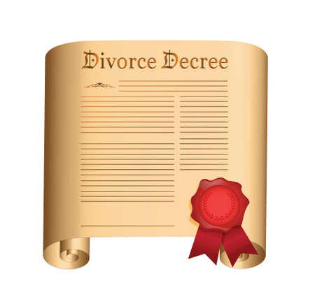 sue: divorce decree Old scroll with a wet seal illustration design over white