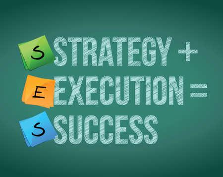 strategie executie tot succes concept illustratie ontwerp