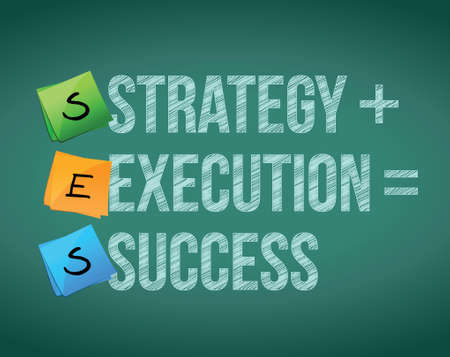 team strategy: strategy execution to success concept illustration design