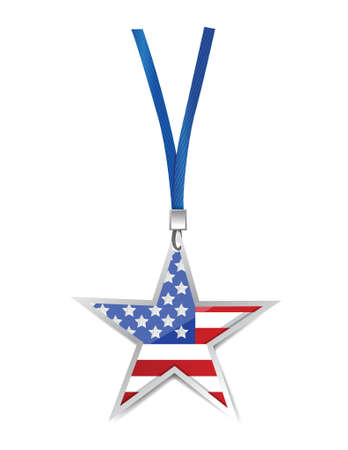usa flag star illustration design over white Vector