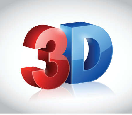 stereoscopic: illustration of 3D word written in red and blue color design over white
