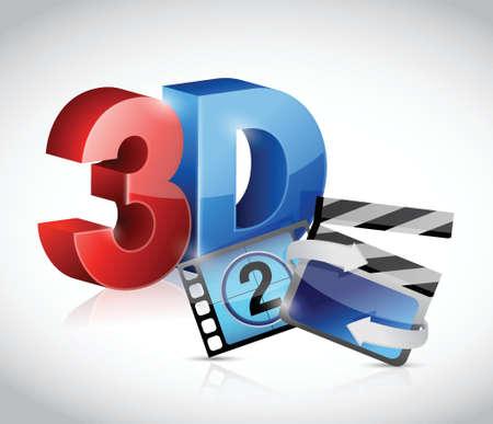 stereoscopic: 3D movie concept illustration design over white Illustration