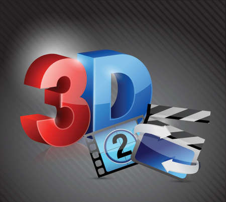 3D movie concept illustration design over black Vector