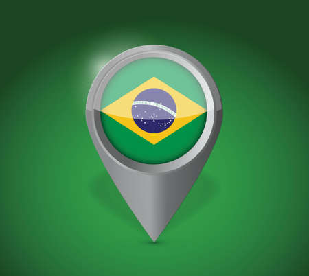 gprs: Brazil map application point label symbol over a green background