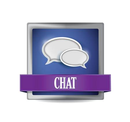 online service: Chat sign reflected on glossy blue square illustration design