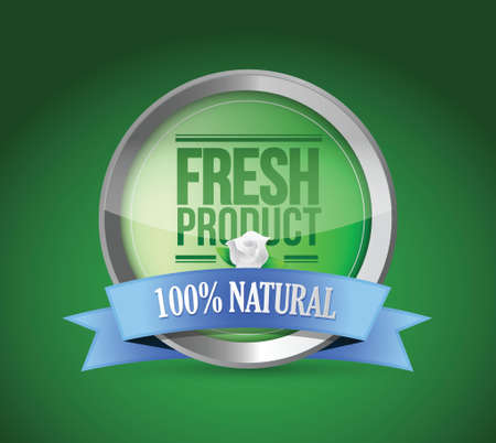 fresh food product shield of approval illustration design Vector