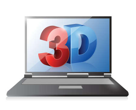 stereoscope: Laptop with a 3d screen. Illustration design over white