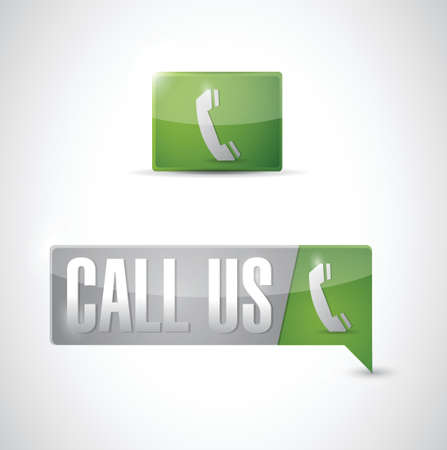 phone button: call us pin pointer sign illustration design over white