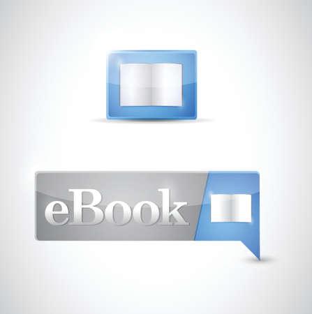 digital book: Ebook icon button blue download illustration design