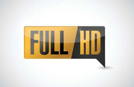 Full HD. High definition button. illustration design Vector Illustration