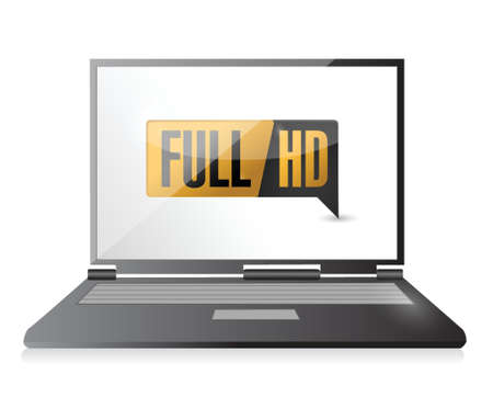 hdtv: laptop with Full HD. High definition button. illustration design
