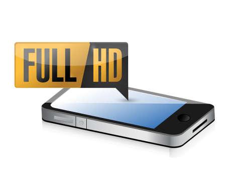 phone with Full HD. High definition button. illustration design Ilustração