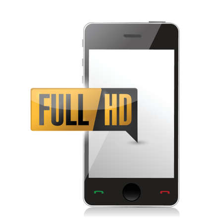 high definition: smart phone with Full HD. High definition button. illustration design