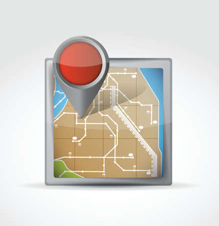 map icon with Pin Pointer illustration design over a white background Stock Vector - 20387283