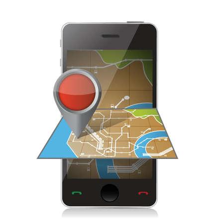 gps navigation: navegaci�n de tel�fonos inteligentes. m�vil gps ilustraci�n, dise�o en blanco