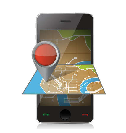 mapping: smart phone navigation. mobile gps illustration design over white