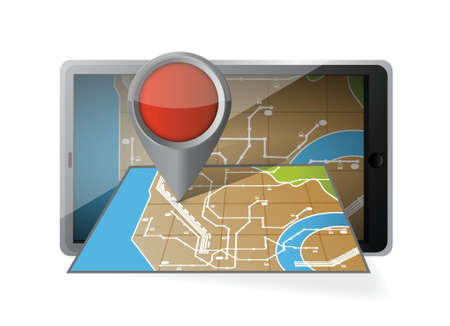 gps device: computer tablet navigation. mobile gps illustration design