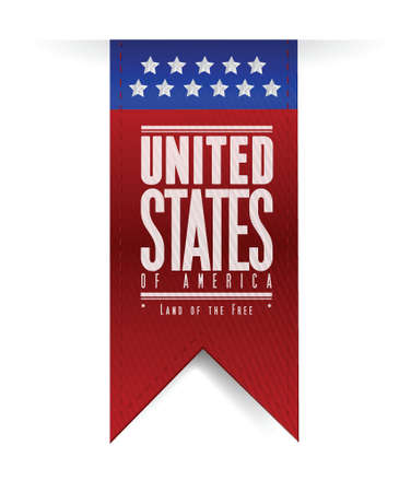 american content: united states. usa flag banner illustration design graphic Illustration