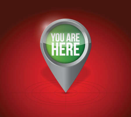 current location pointer illustration design over a red background Vector