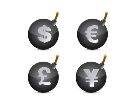 Set of bombs with currency-symbols illustration design over white Stock Vector - 20387274