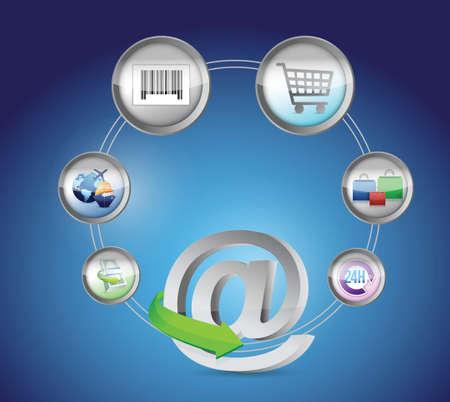 at E-Commerce and Online Shopping Concept illustration design over white