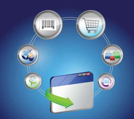 E-Commerce and Online Shopping Concept illustration design over white Vector