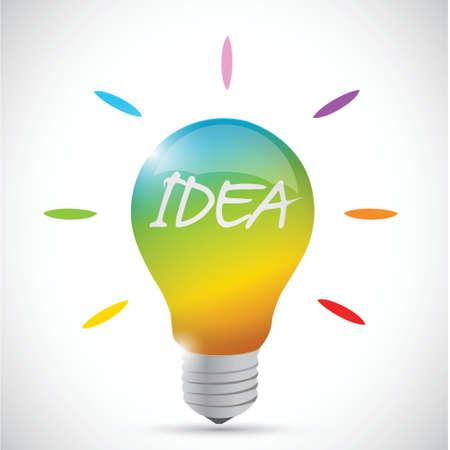 colorful idea lightbulb illustration design over a white background