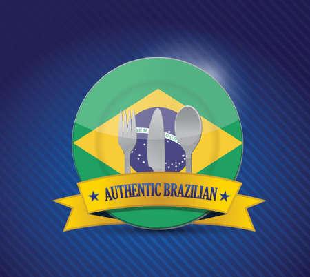 brasil: Traditional brazilian restaurant , menu illustration design over blue
