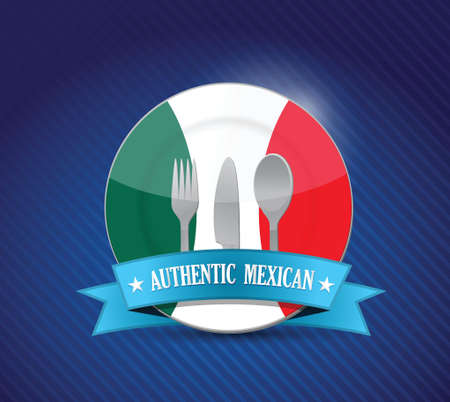 menu: Traditional mexican restaurant , menu illustration design over blue Illustration