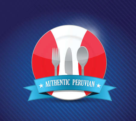 Traditional peruvian restaurant , menu illustration design over blue Illustration