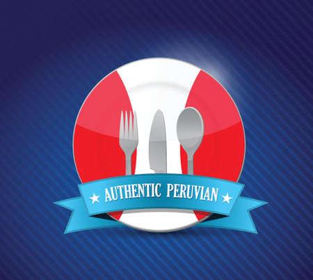 bandera de peru: Restaurante, menú de diseño de ilustración peruana tradicional sobre azul