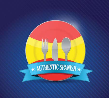 spanish flag: Traditional spanish restaurant , menu illustration design over blue Illustration