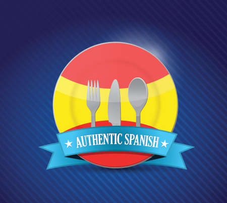 Traditional spanish restaurant , menu illustration design over blue Illustration