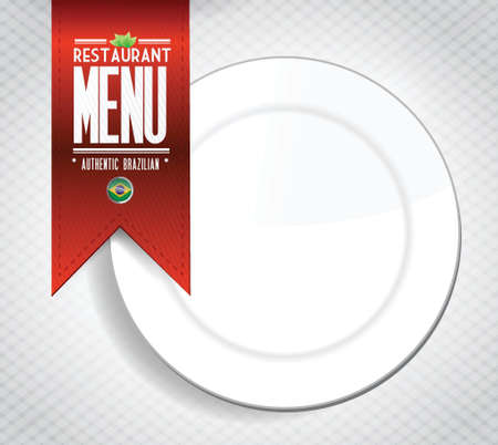 menu: brazilian restaurant menu texture banner illustration over white
