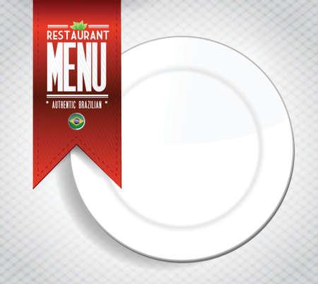 carta de postres: brazilian restaurante de men� textura ilustraci�n de la bandera en blanco