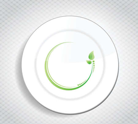 cooking ware: healthy food leave design over a dish and a pattern background
