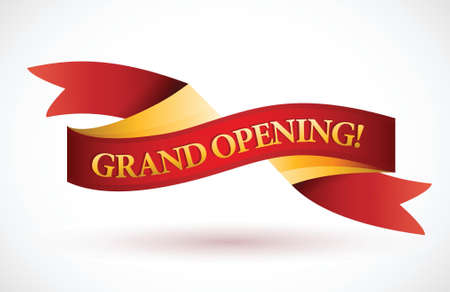 grand: grand opening red waving ribbon banner illustration design over white