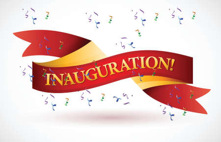 inauguration red waving ribbon banner illustration design over white Vector