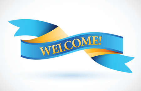 welcome blue waving ribbon banner illustration design over white