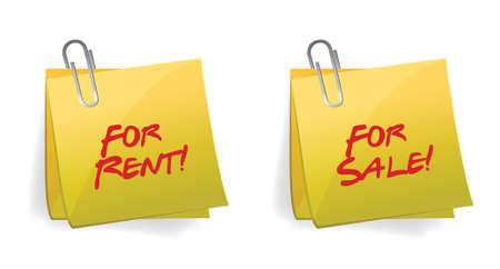 zoned: For Rent or sale Sticky Note illustration design Illustration