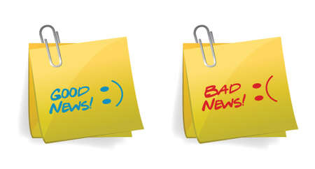Good and Bad News Concept illustration design over white Vector