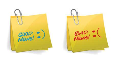 bad news: Good and Bad News Concept illustration design over white