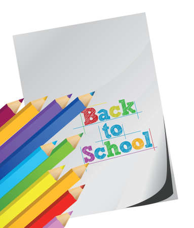 teaching crayons: back to school, Color pencils and white paper illustration design over white