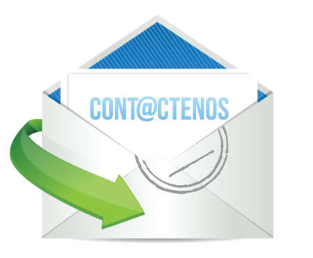 spanish contact us icon illustration design over a white background Иллюстрация