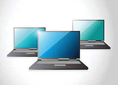 set of laptop computers illustration design over a white background Vector